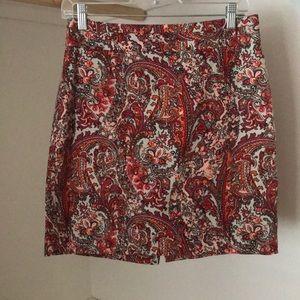 Coral and tan Loft pencil skirt